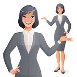 Beautiful smiling businesswoman presenting. Full length isolated vector illustration. Royalty Free Stock Images