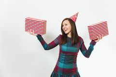 Beautiful caucasian young happy people on white background isolated. Holiday, party concept. Beautiful smiling caucasian fun young happy woman in plaid dress Royalty Free Stock Photography
