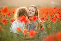 Beautiful smiling child girl with mother are having fun in field of red poppy flowers over sunset lights. Beautiful happy couple mother and cute daughter are stock photography