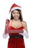 Beautiful smiling christmas santa woman Royalty Free Stock Image