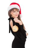 Beautiful smiling christmas santa woman. With snow ball Royalty Free Stock Photo