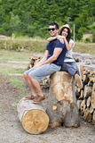 Beautiful smiling couple hugging and smiling outdoor Stock Photography