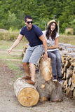 Beautiful smiling couple hugging and smiling outdoor Stock Images