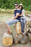 Beautiful smiling couple hugging and smiling outdoor Royalty Free Stock Image
