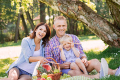 Beautiful, smiling couple with son having a picnic on grass royalty free stock photography