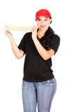 Beautiful smiling delivery girl holding packages Royalty Free Stock Photography