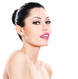 Beautiful smiling face of caucasian woman  with pink lips Royalty Free Stock Photography