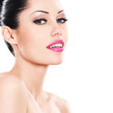Beautiful smiling face of caucasian woman  with pink lips Royalty Free Stock Images