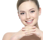 Beautiful smiling face of woman Stock Images