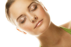 Beautiful smiling face of young woman with healthy clean skin Stock Photos