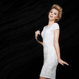 Beautiful smiling fashionable blonde royalty free stock images