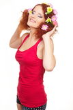 Beautiful smiling ginger woman in red cloth Royalty Free Stock Images