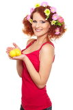 Beautiful smiling ginger woman in red cloth Royalty Free Stock Photography