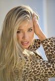 Beautiful smiling girl. Beautiful smiling blond girl outdoors Royalty Free Stock Photo