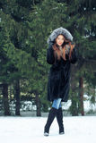 Beautiful smiling girl on background of snowy Royalty Free Stock Images