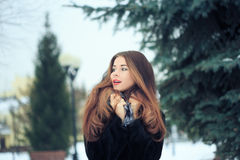 Beautiful smiling girl on background of snowy Royalty Free Stock Image