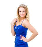 Woman in a blue dress with diadem Royalty Free Stock Images
