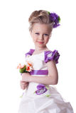 Beautiful smiling girl with bouquet of flowers stock image