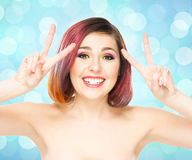 Beautiful smiling girl with colorful make-up Royalty Free Stock Images
