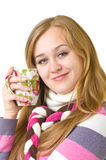 Beautiful smiling girl with a cup Stock Photography