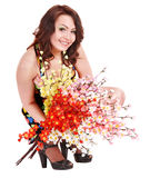 Beautiful  smiling girl with group flower. Royalty Free Stock Images