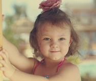 Beautiful smiling girl with hair Stock Photography