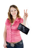 Beautiful smiling girl with a handbag Royalty Free Stock Photos