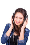 Beautiful smiling girl with headphones. Beautiful young smiling girl with headphones Royalty Free Stock Images