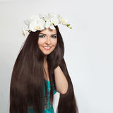 Beautiful Smiling Girl. Healthy Long Dark Hair Royalty Free Stock Photos