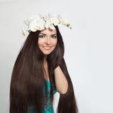 Beautiful Smiling Girl. Healthy Long Dark Hair Royalty Free Stock Photos