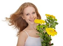Beautiful smiling girl holding bouquet flowers Stock Images