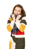 Beautiful Smiling Girl In Warm Colorful Sweater Stock Images