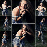 Beautiful Smiling Girl Is Posing On The Bicycle In The Park Collage Of Toned Images Royalty Free Stock Photography