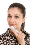 Beautiful, smiling girl with the mobile phone Royalty Free Stock Image