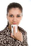 Beautiful, smiling girl with the mobile phone Stock Photography