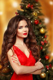 Beautiful smiling girl model. Makeup. Healthy long hair style. E Royalty Free Stock Images