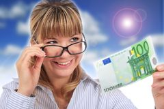 Beautiful smiling girl with money. Stock Image
