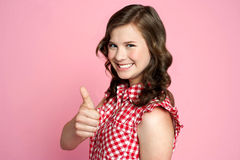 Beautiful smiling girl with ok gesture Royalty Free Stock Photo