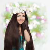 Beautiful Smiling Girl with Orchid Garland Royalty Free Stock Photo