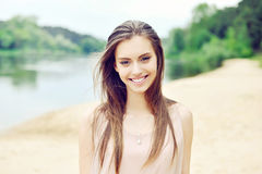 Beautiful smiling girl. Outdoor portrait Royalty Free Stock Photos