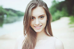 Beautiful smiling girl outdoor portrait Royalty Free Stock Photos