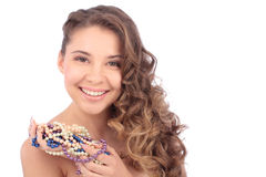 Beautiful smiling girl with Pearl beads Royalty Free Stock Photo