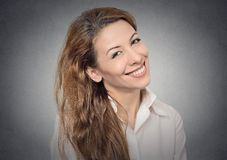 Beautiful smiling girl. Portrait of a beautiful smiling girl happy attractive woman isolated on grey wall background. Positive human emotions, face expressions Stock Images