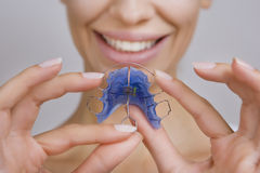 Beautiful Smiling Girl with Retainer for Teeth, Close-up Stock Images