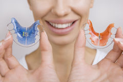 Beautiful Smiling Girl with Retainer for Teeth, Close-up Royalty Free Stock Photos