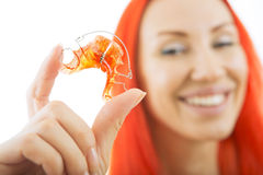 Beautiful Smiling Girl with Retainer for Teeth, Close-up Stock Photography