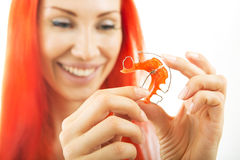Beautiful Smiling Girl with Retainer for Teeth, Close-up Royalty Free Stock Photography