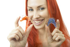 Beautiful Smiling Girl with Retainer for Teeth, Close-up Stock Image