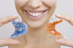 Beautiful Smiling Girl with Retainer for Teeth Royalty Free Stock Photo