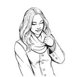 Beautiful smiling girl in scarf adult coloring page. Illustration Royalty Free Stock Images